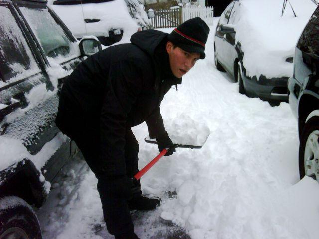 Rick shoveling snow 2