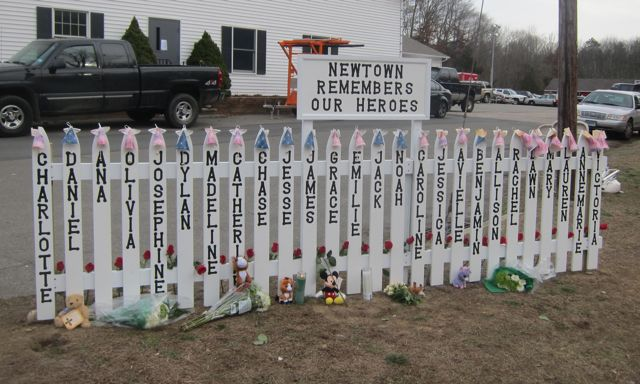 Newtown Sandy Hook Memorial signs