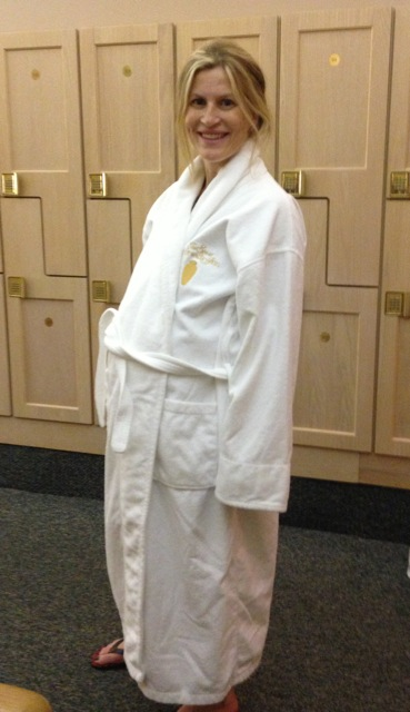 kelcey in white robe