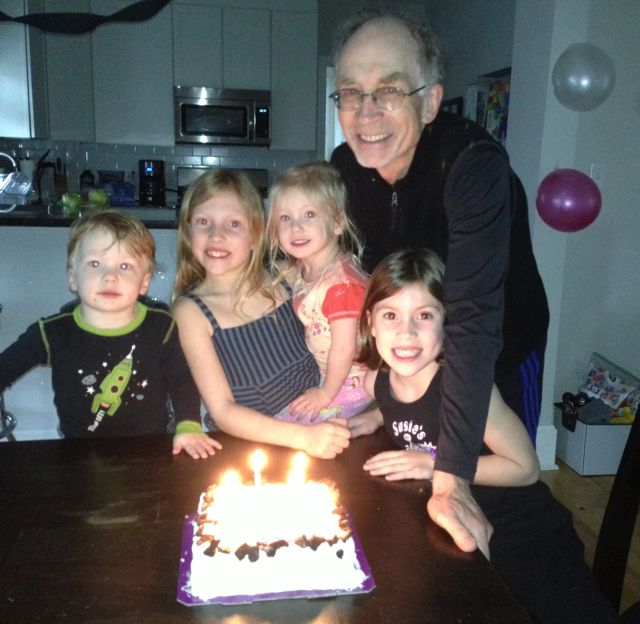 Dad with kids on 70th birthday