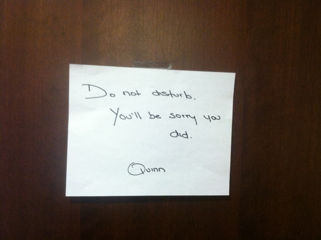 Breast Pumping Note on Office Door