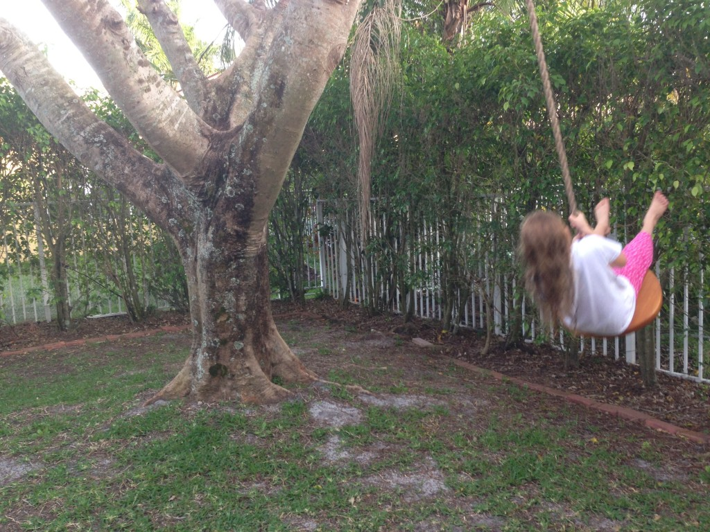 kid swinging on tree swing