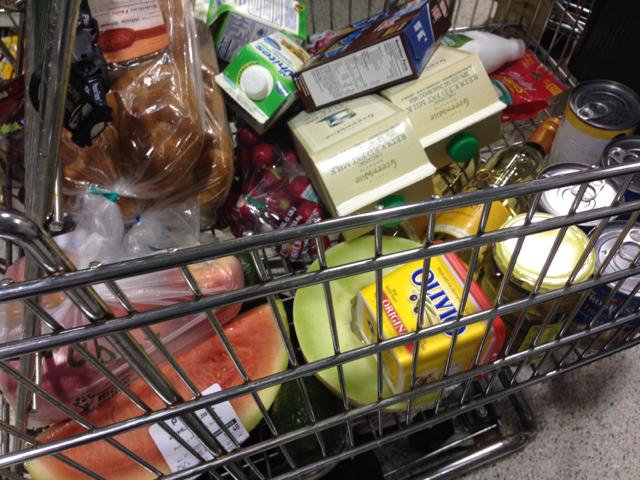 groceries in cart