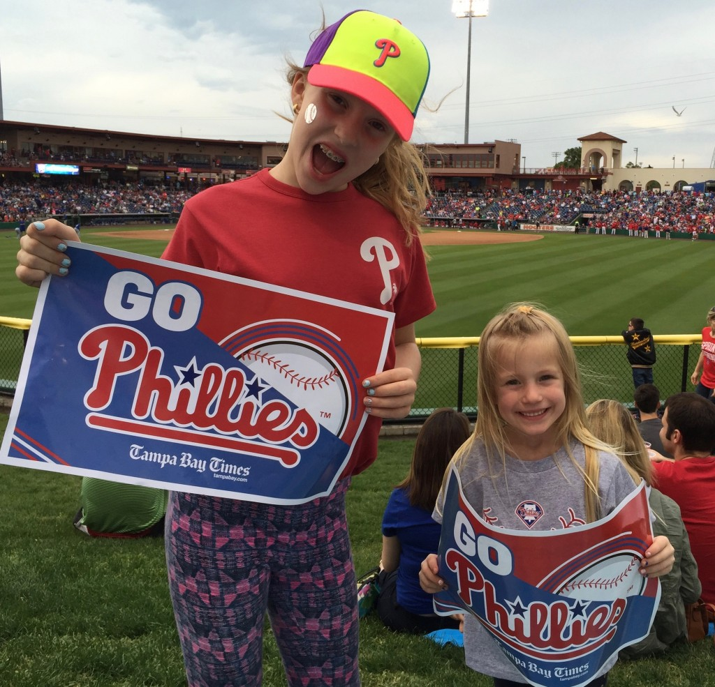 Phillies spring training. Dylan and Harlowe